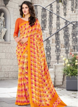 Faux Georgette Orange and Rose Pink Print Work Designer Traditional Saree