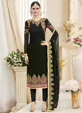 Faux Georgette Pakistani Straight Salwar Kameez For Festival