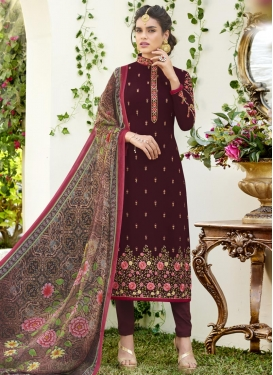 Faux Georgette Pakistani Straight Salwar Suit For Ceremonial