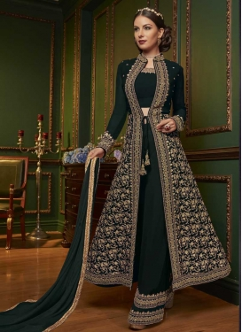 Faux Georgette Palazzo Designer Salwar Kameez For Ceremonial