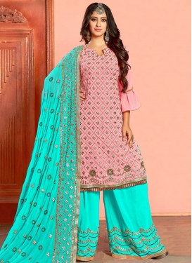 Faux Georgette Palazzo Designer Salwar Suit For Ceremonial
