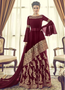 Faux Georgette Palazzo Designer Salwar Suit For Party