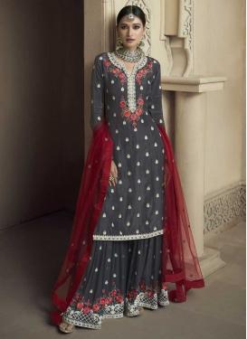 Faux Georgette Palazzo Straight Salwar Kameez For Ceremonial