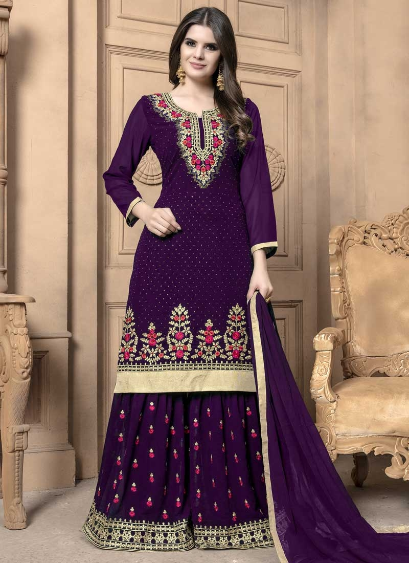 Faux Georgette Palazzo Straight Salwar Suit