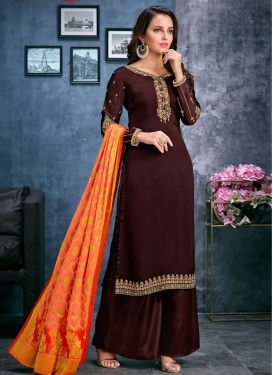 Faux Georgette Palazzo Style Pakistani Salwar Kameez For Ceremonial