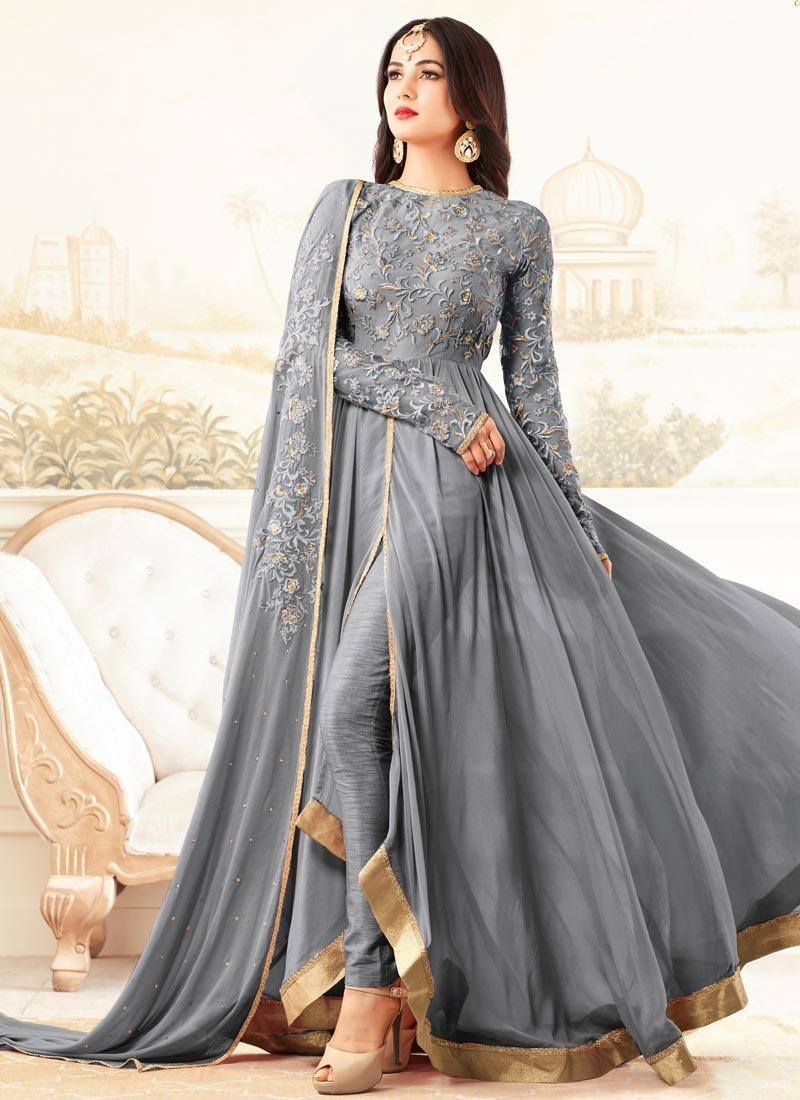 Shop Faux Georgette Pant Style Classic Salwar Suit Online