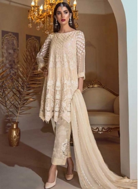 Faux Georgette Pant Style Classic Salwar Suit For Ceremonial