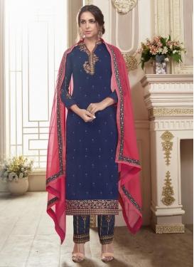 Faux Georgette Pant Style Pakistani Suit For Ceremonial