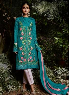 Faux Georgette Pant Style Straight Salwar Kameez