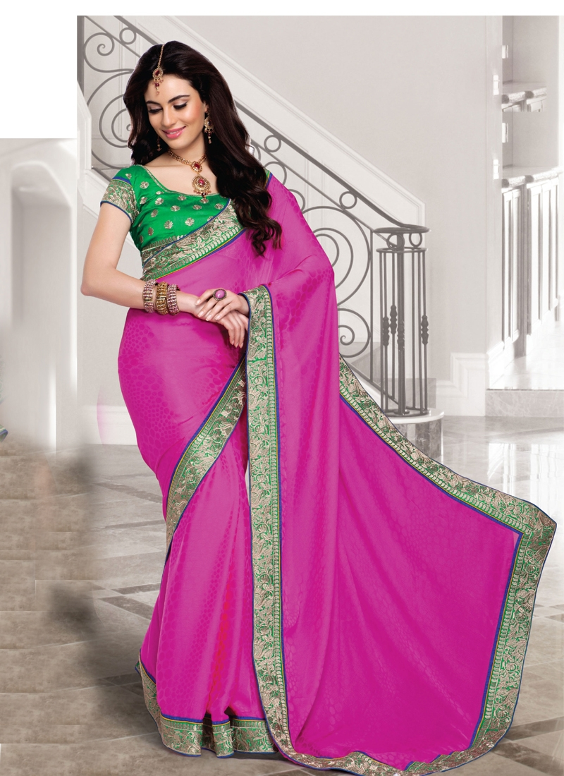 Faux Georgette Patch Work Party Wear Saree