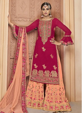 Faux Georgette Peach and Rose Pink Palazzo Straight Salwar Suit