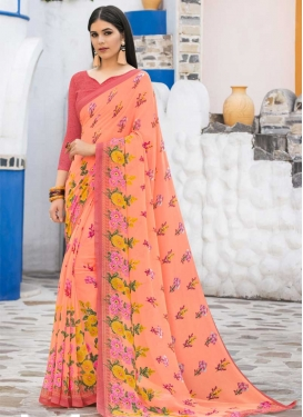 Faux Georgette Peach and Salmon Classic Saree