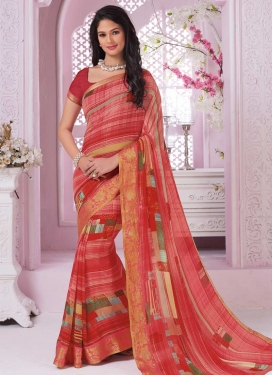 Faux Georgette Pink and Red Trendy Classic Saree