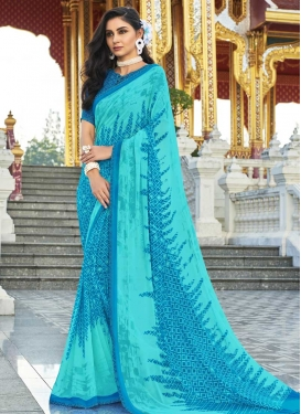 Faux Georgette Print Work Blue and Turquoise Traditional Designer Saree