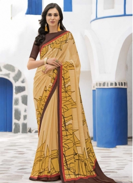 Faux Georgette Print Work Coffee Brown and Gold Classic Saree