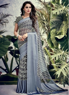 Faux Georgette Print Work Contemporary Saree