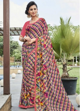 Faux Georgette Print Work Contemporary Style Saree