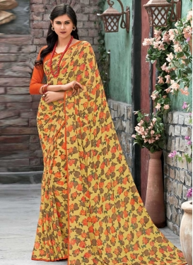 Faux Georgette Print Work Orange and Yellow Classic Saree
