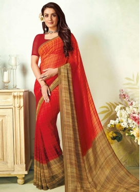 Faux Georgette Print Work Traditional Saree