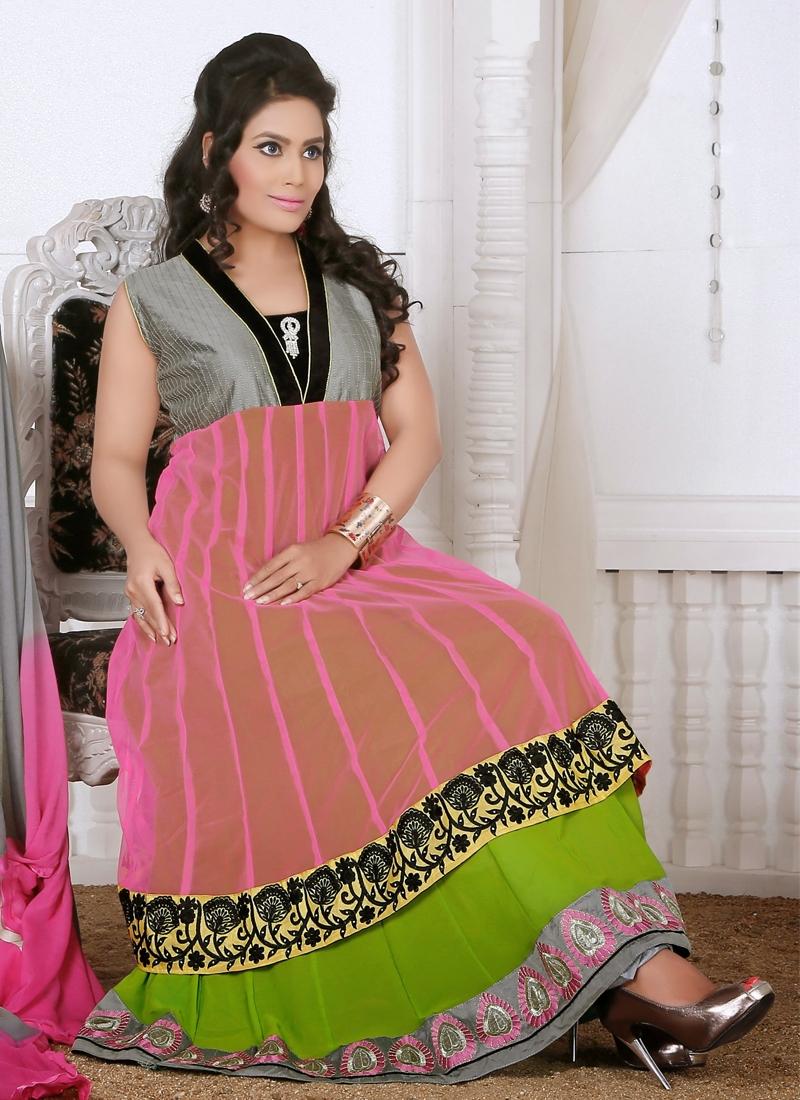 Faux Georgette Readymade Churidar Salwar Suit
