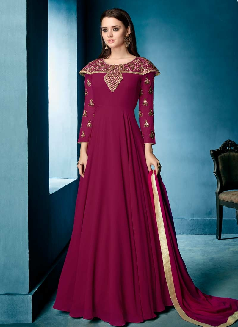 Faux Georgette Readymade Floor Length Gown For Festival