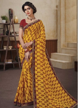 Faux Georgette Red and Yellow Designer Traditional Saree