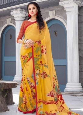 Faux Georgette Red and Yellow Digital Print Work Trendy Classic Saree