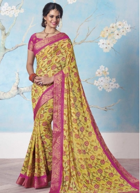 Faux Georgette Rose Pink and Yellow Classic Saree