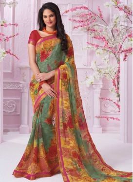 Faux Georgette Sea Green and Yellow Trendy Saree For Festival