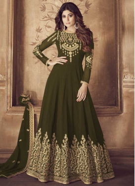 Faux Georgette Shamita Shetty Trendy Anarkali Salwar Kameez