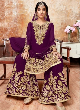 Faux Georgette Sharara Salwar Kameez For Festival