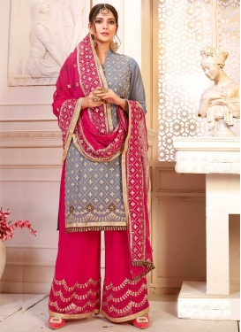 Faux Georgette Sharara Salwar Suit For Ceremonial