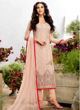 Faux Georgette Straight Salwar Suit For Festival