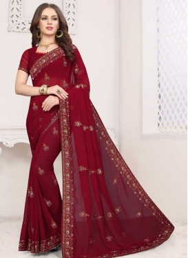 Faux Georgette Traditional Saree For Ceremonial
