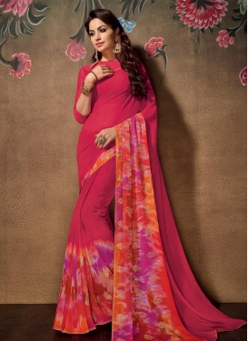 Faux Georgette Traditional Saree For Festival