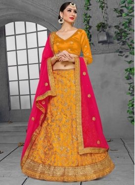 Faux Georgette Trendy A Line Lehenga Choli For Party