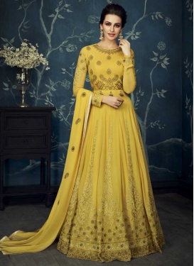 Faux Georgette Trendy Anarkali Salwar Kameez For Festival