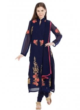Faux Georgette Trendy Churidar Salwar Kameez