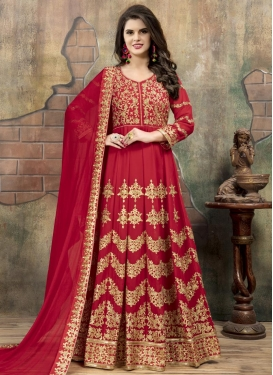 Faux Georgette Trendy Long Length Anarkali Suit