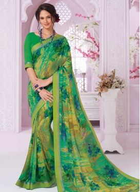 Faux Georgette Trendy Saree For Ceremonial