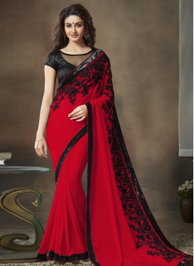 Faux Georgette Trendy Saree For Festival
