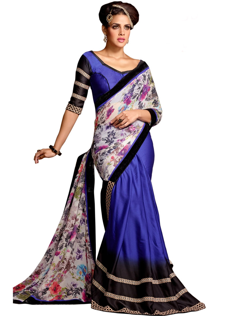 Festal Digital Print Work Half N Half Party Wear Saree