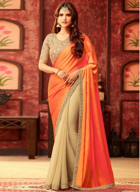 Festal Embroidered Work Half N Half Designer Saree For Festival