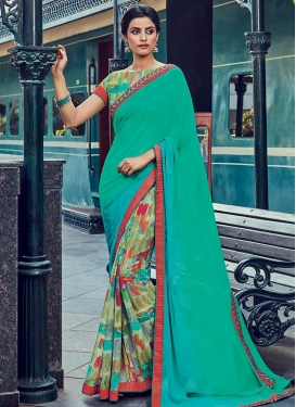 Festal  Faux Georgette Half N Half Trendy Saree For Festival