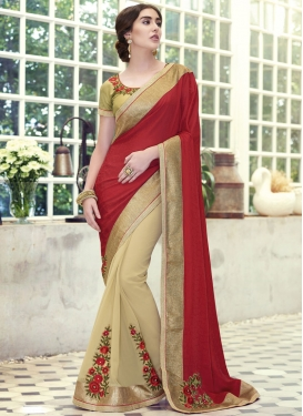 Festal Floral And Lace Work Half N Half Designer Saree