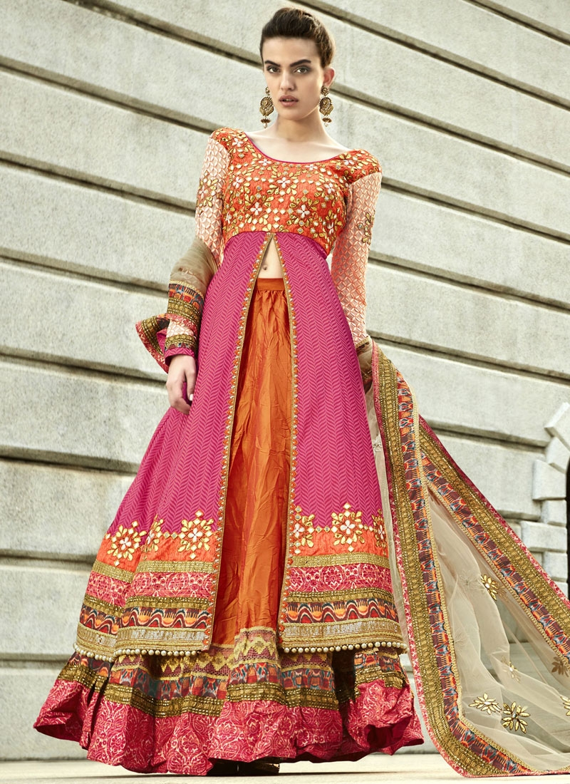 Festal Gota Patti And Mirror Work Designer Lehenga Choli