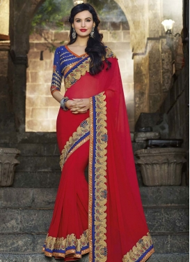 Festal Lace Work Red Color Party Wear Saree