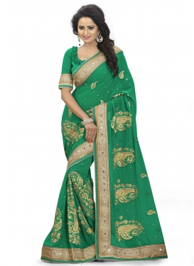Festal Mirror Work Green Color Wedding Saree