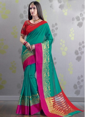 Festal Red and Sea Green Classic Saree For Ceremonial