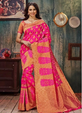 Festal Resham Work Art Silk Beige and Rose Pink Classic Saree For Ceremonial